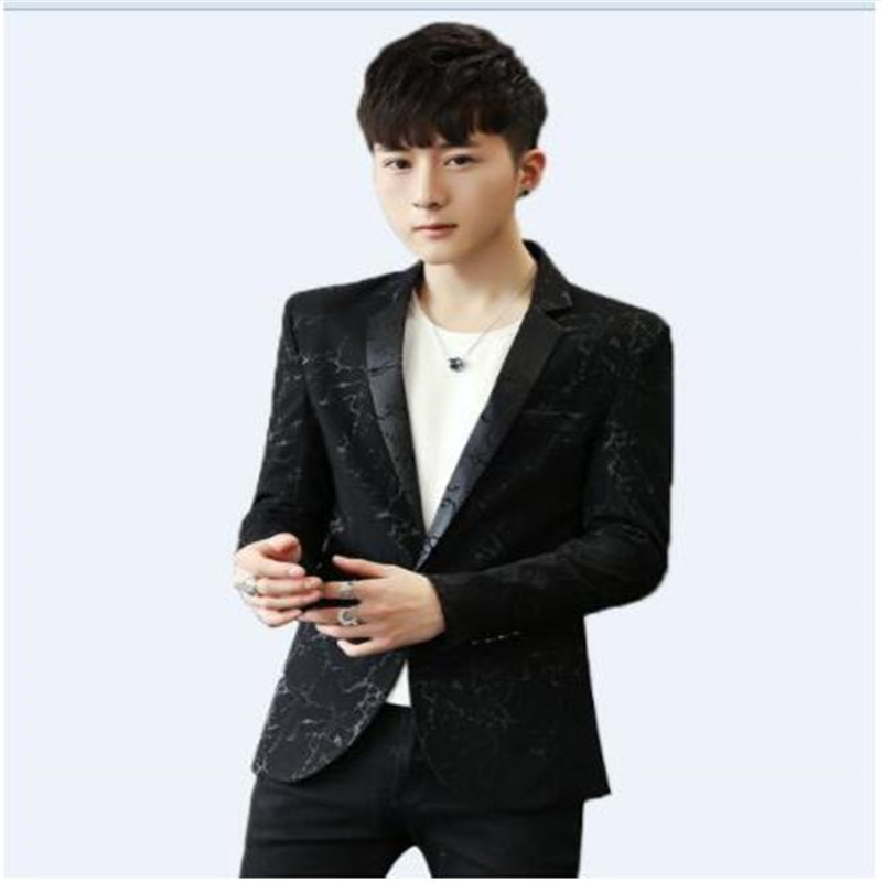 Mens Casual Blazers One Single Button Printed Fabric Male Clothing Spring Summer New 2018 Drop Shipping Wholesale M-3XL Slim Fit