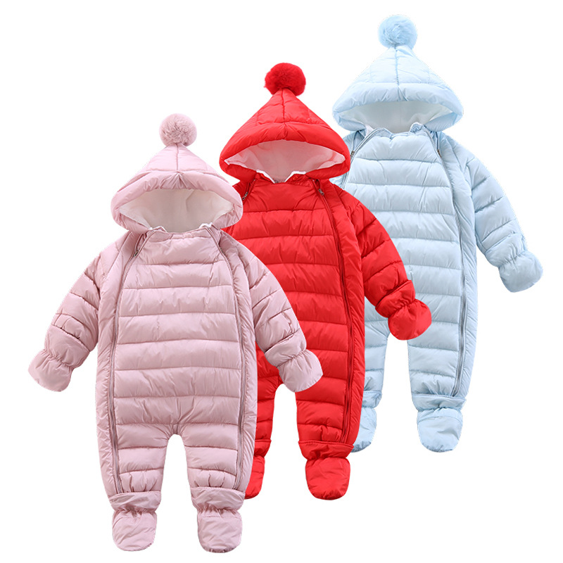 2019 New Born Baby Clothes Winter Autumn Warm Girl Romper Baby Clothes Kids Boy Cartoon Jumpsuit Overalls Thicken Rompers 9-24M