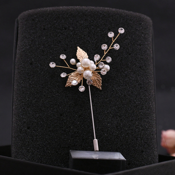 цена на TRiXY Exquisite Gold Leaf Wedding Brooches for Women Wedding Party Jewelry Accessories Girl Clips Suit Corsage Collar Pin XZ01