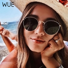 WUE 2020 Retro Round Pink Sunglasses Women Brand Designer Sun Glasses For Women