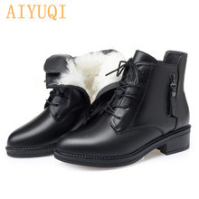 Short Boots Women Winter Flat Genuine Leather Thick With Martin Boots Ladies Large Size Boots Wool Warm Female Military Boots student hairy flat bottom warm short boots women winter thickening martin boots black white tie leather flat heel women boots