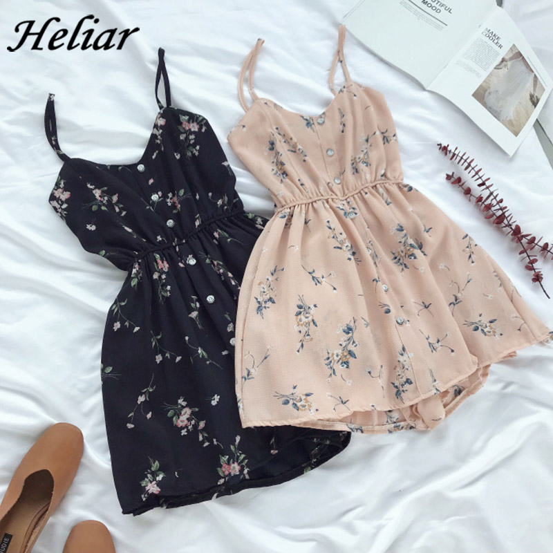 HELIAR Buttoned Floral Printed Rompers Women Playsuits Lady Jumpsuits with Sashes Lapel Sleeveless Casual Female Playsuit