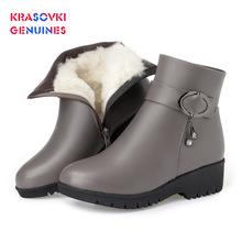 Krasovki Genuines Wool Women Snow Boots Warm Genuine Leather Fur Warm Shoes Plush Ankle Boots Platform for Women Winter Boots 100% genuine leather natural fur snow boots warm wool women boots classic waterproof ankle boots women shoes lady winter boots