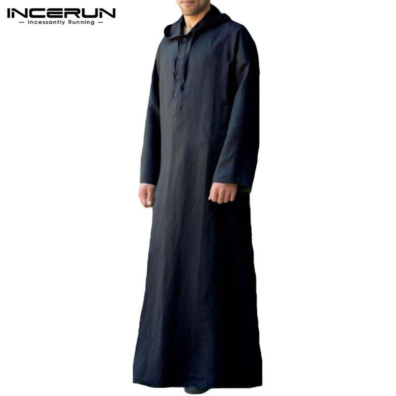 Image 4 - Muslim Robe Hoodies Kaftan Dressing Mens Saudi Arab Dubai Long Sleeve Thobe Arabic Long Islamic Jubba Thobe Man Clothing 2020Islamic Clothing   -
