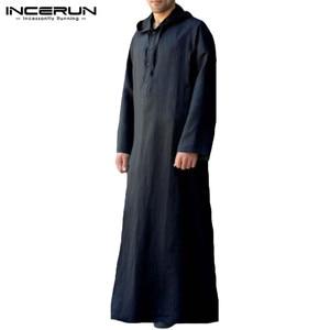 Image 4 - Muslim Robe Hoodies Kaftan Dressing Mens Saudi Arab Dubai Long Sleeve Thobe Arabic Long Islamic Jubba Thobe Man Clothing 2020