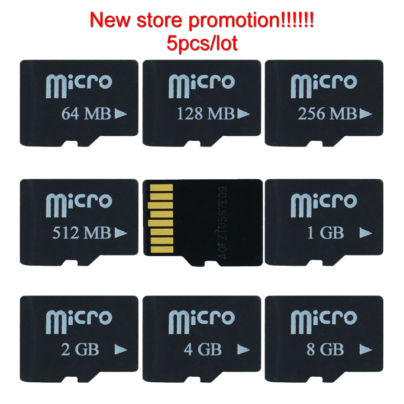 Hi-Quallity!5pcs/lot 8G 4G 2GB 1GB 512MB 256MB 128MB 64MB TF Card Micro Card TF Memory Secure Digital Memory Card For Cell Phone