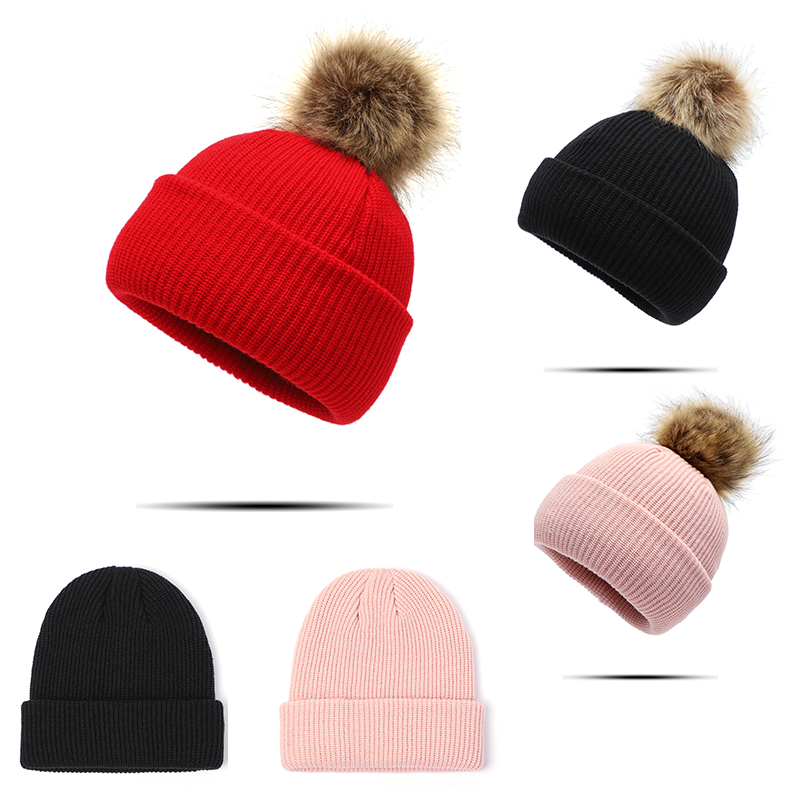 Beanie Hat Winter Women Pom Hat Mink Fur Pom Pom Bonnet Hiver Woolen Women's Winter Beanie Hats Female