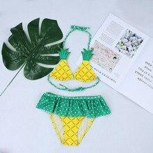 Детский купальник для девочек, детское бикини, детский купальник с воланами, топ с ананасом, женский пляжный костюм
