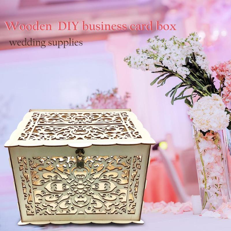 DIY Wooden Wedding Cards Storage Box Invitation Letter Case Party Supply Signature Hearts Drop Box Rustic Sweet Guestbook Decor