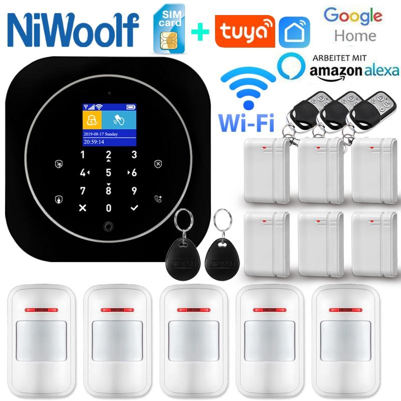 Sistema de alarma de casa, intercomunicador con alarma Wifi GSM, Control remoto, Autodial, detectores de 433MHz, IOS, Android, Tuya, teclado táctil con Control de aplicación