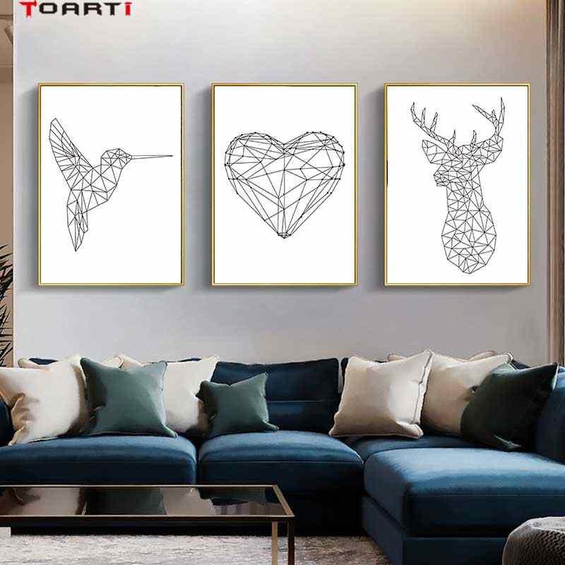 خلاصة الخط الحيوانات المشارك يطبع الطيور القلب الحديثة قماش اللوحة على الحائط لغرفة المعيشة ديكور المنزل بسيطة الفن صور
