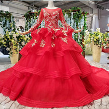 HTL840 muslim wedding dresses with long sleeves appliques o-neck red wedding gown with tail ball gown lace up back vestido festa(China)