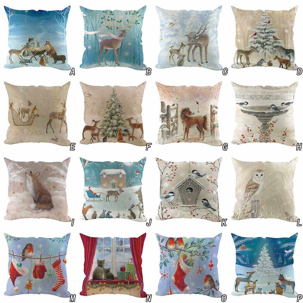 Christmas Cushion Cover Decorative Pillow Blue And White Elk Snowman Pillow Case Luxury Sofa Cushions Home Chair Cojin 45 45cm Aliexpress