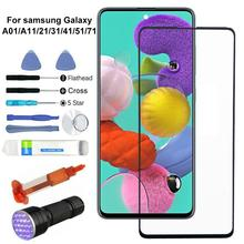 For Samsung Galaxy A01 A11 A21 A31 A41 A51 A71 Replacement Outer Front Glass Lens Screen UV Glue Kit Front Glass Screen Kit
