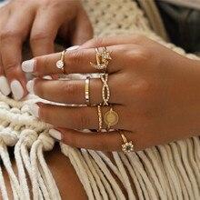 ZORCVENS 8 pcs/set Punk Vintage Gold Color Crystal Moon Star Flower Wedding Ring for Woman