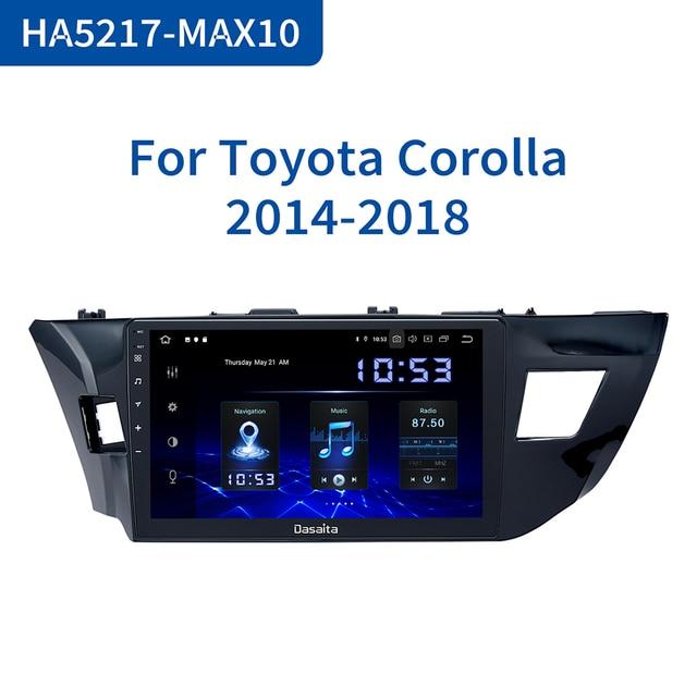 """Dasaita 10.2 """"Multimedia Dellautomobile Android 10.0 per Toyota Corolla 2014 2015 2016 TDA7850 Multi Schermo di Tocco HDMI 4GB di RAM"""