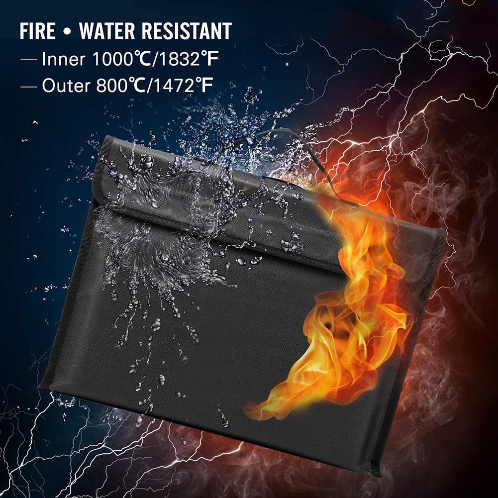 Fireproof Document Bag Waterproof Money Cash File Pouch Safe Holder For Office VH99
