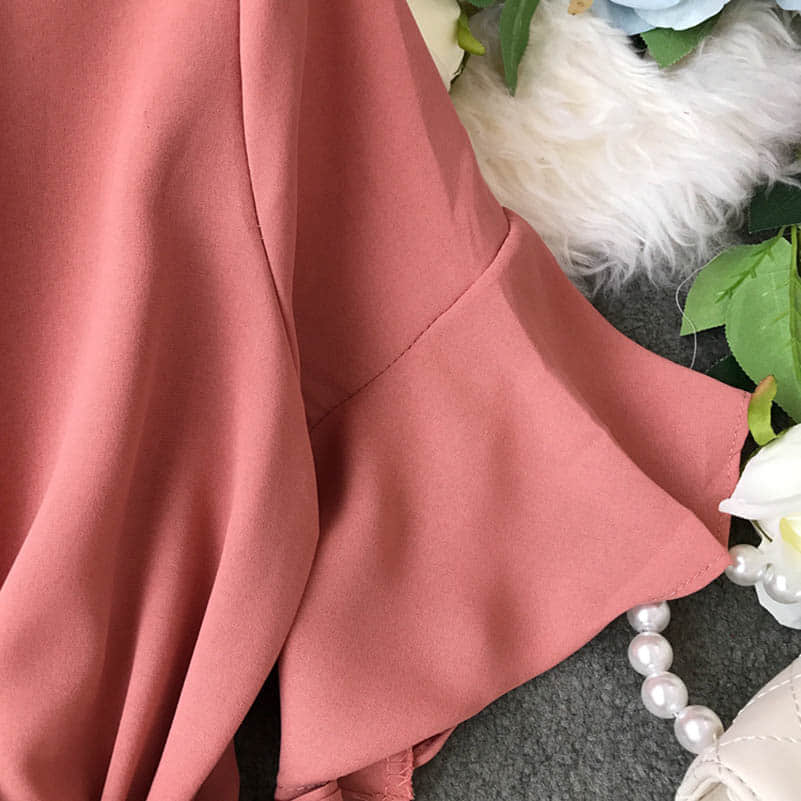 Hf37fa2c3b06c4fa294ec2d222c1cab203 - Candy Color Elegant Jumpsuit Women Summer Latest Style Double Ruffles Slash Neck Rompers Womens Jumpsuit Short Playsuit