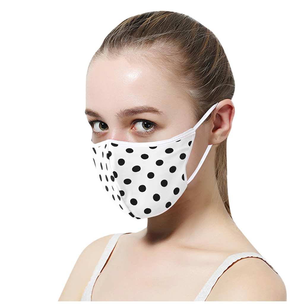 Cotton Polka Dot Mask Mouth Face Mask Anti PM2.5 Dust Mask Respirator Activated Carbon Filter Washable Reusable Mouth-muffle