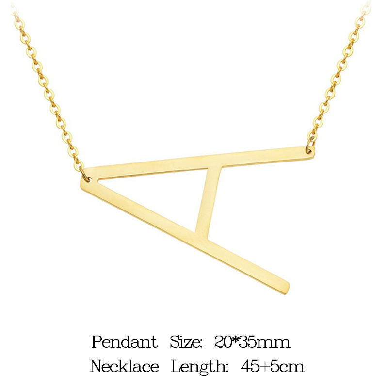 women girl jewelry elegant chain alphabet letter pendant necklace 3 colors stainless steel choker initial necklace