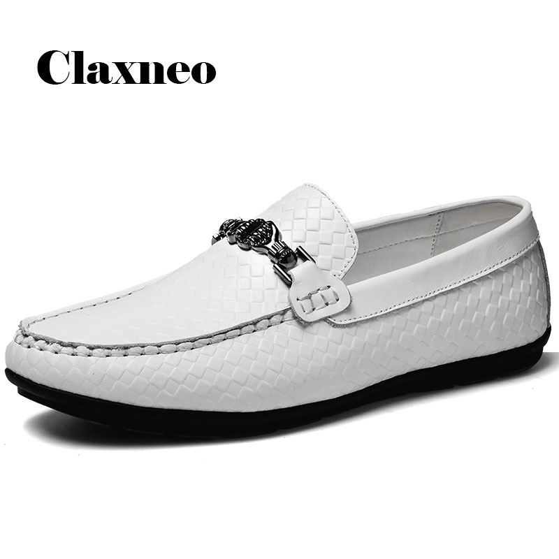 Man Boat Shoes White Leather Loafers Men's Shoe Slip on Design Leisure Footwear Flat Moccasins Breathable Soft New
