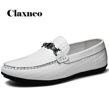 Man Boat Shoes White Leather Loafers Men's Shoe
