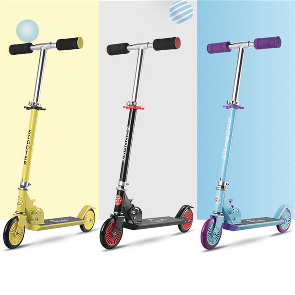 Foot Kick Scooter Foldable Freestyle Street Skate Cycle Hoverboard Skateboard Adjustable 2 Wheels 120mm Kids Boy Girl Gift