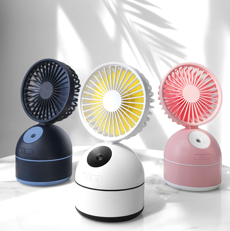 USB Humidifier Fan With 2000mAh Battery 180 Degree Angle Adjustment Desktop Mini Air Cooling Fan Portable Spray Cooler Fan