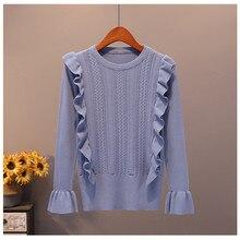 JSXDHK краткое мода трикотажный пуловер с длинными рукавами на осень с расклешенным рукавом, гофрированным деко корейский женский свитер Шикарный джемпер с круглым вырезом топы