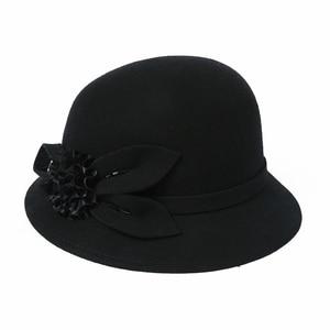 Image 4 - 2019 Winter Lady Chic Flower Fedora Hats Women Party Formal 100% Australia Wool Felt Hat