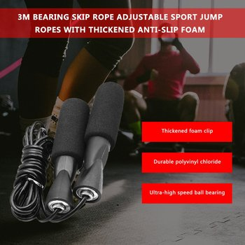 3M Bearing Skip Rope Adjustable Boxing Skipping Sport Jump Ropes Gym Exercise Fitness Equipment with Thickened Anti-slip Foam 4