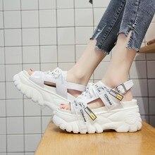Buty kobieta lato Chunky sandały damskie 8cm buty na koturnie z wysokim obcasem Sandalia feminina sandały na platformie striptizerka obcasy Zapatos de mujer