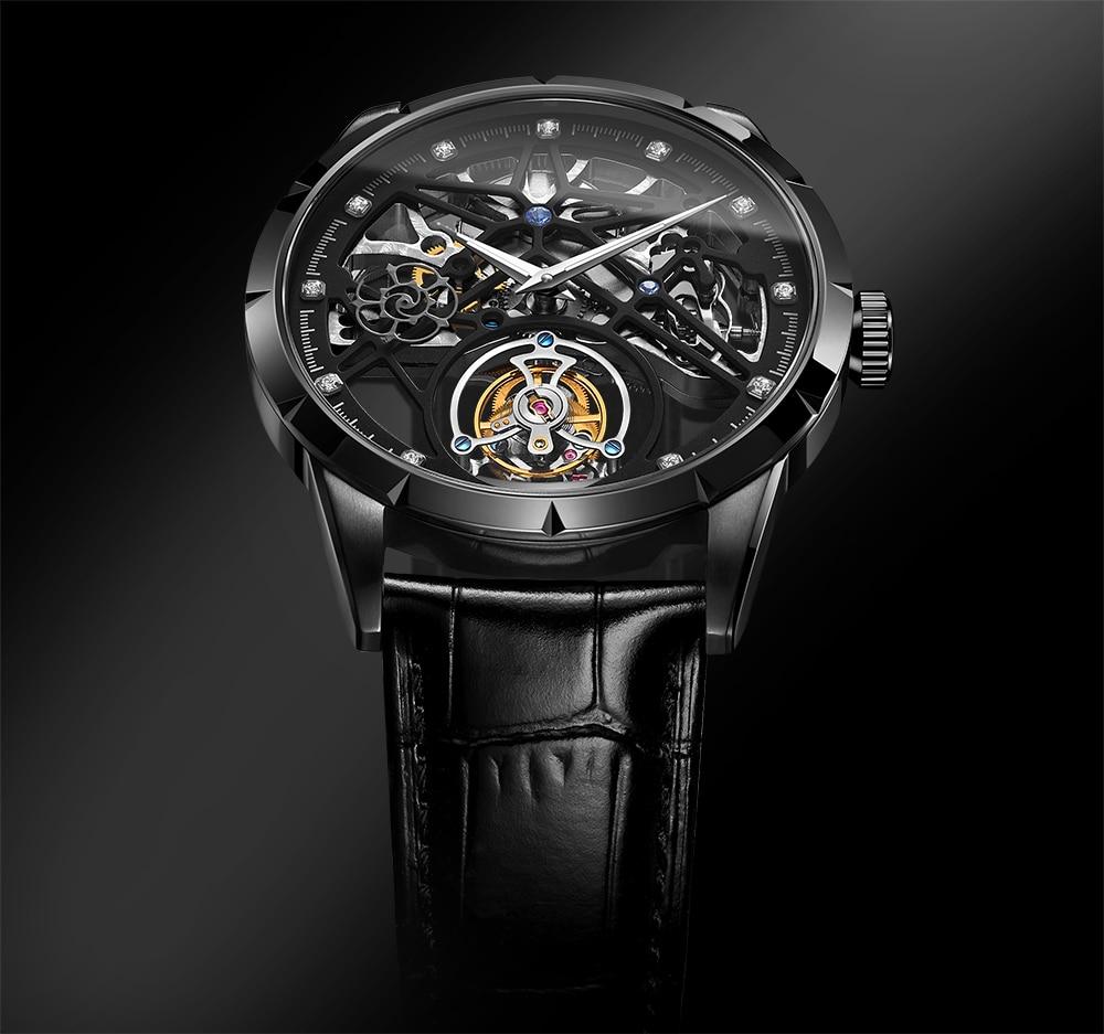 Super New Model GUANQIN Original Tourbillon business men watch top brand luxury Skeleton Sapphire  clock men Relogio Masculino 11
