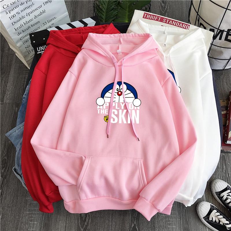 Autumn Korean Fashion Doraemon Cartoon Print Long Sleeve Hoodies  Harajuku Kawaii O-neck Streetwear Sweatshirt Sudadera Mujer