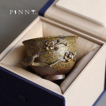 PINNY 75ml Retro hechos a mano de taza de té de cerámica maestro regalo paquete kungfú chino té accesorios grabado tazas