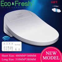Asiento de baño inteligente Ecofresh, tapa de inodoro eléctrico, bidé inteligente, asiento de inodoro con calefacción, luz Led, tapa de asiento de inodoro inteligente Wc