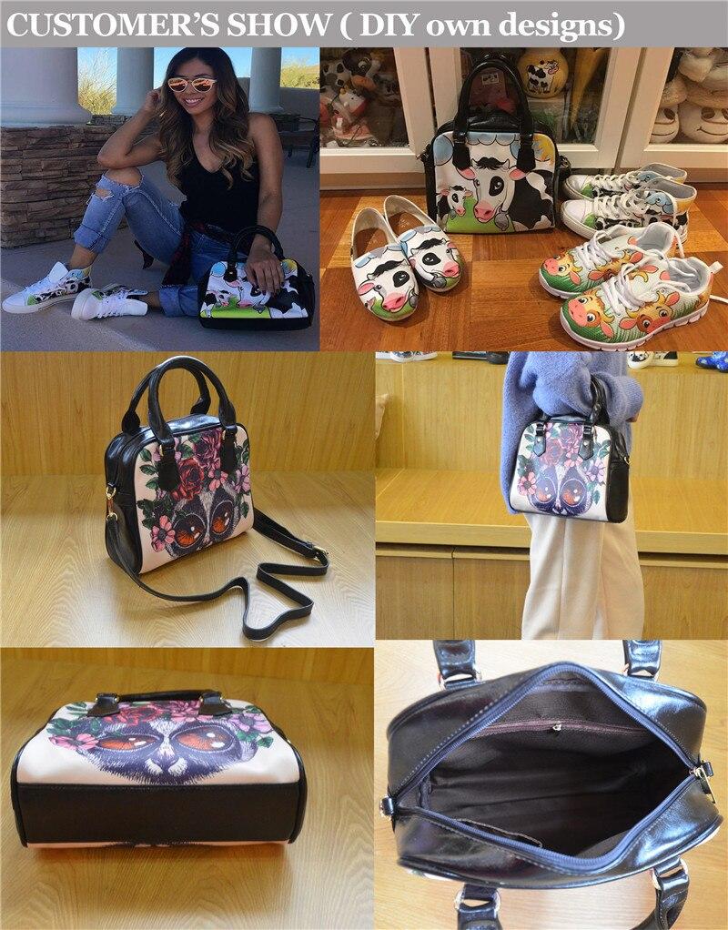 meninas impressão bolsa de mão de couro