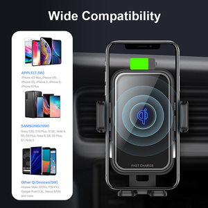 Image 5 - 10W QI Wireless Car Charger For Iphone X Samsung S10 Fast Charge Air Vent Dashboard Car Mount Auto Clamping Car Wireless Charger