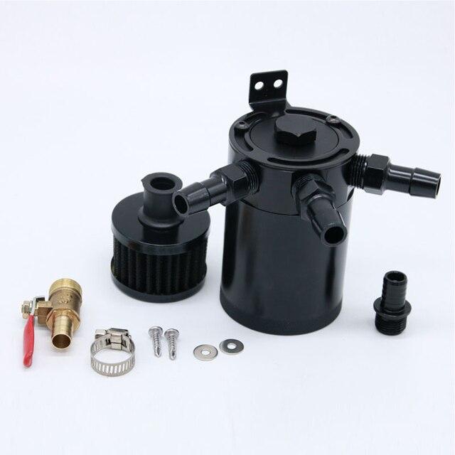 3-port universal captura de óleo pode tanque reservatório com válvula de drenagem filtro de respiro compacto perplexo alumínio tanque de combustível de captura de óleo
