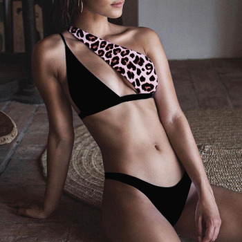 In-X Sexy leopard print swimsuit female patchwork swimwear women One shoulder bikini set 2020 Brazilian bikinis bathing suit new 1
