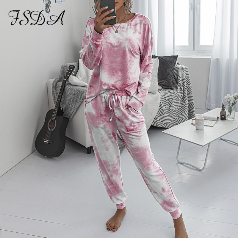 FSDA 2020 Women Set Tie Dye Long Sleeve Top Shirt O Neck And Pants Tracksuit Two Piece Set Casual Outfit Lounge Wear