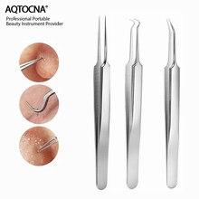 Aqtocna 3 pçs/set cravo comedone acne clipe espinha cravo removedor ferramenta pinça para rosto cuidados com a pele ferramenta facial poros mais limpo
