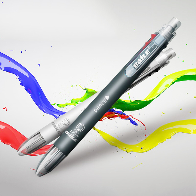 6 In 1 Multicolor Ballpoint Pen Multifunction Pen Contain 5 Color Ball Pen & 1  Automatic Pencil Top Eraser Office School Supply 1