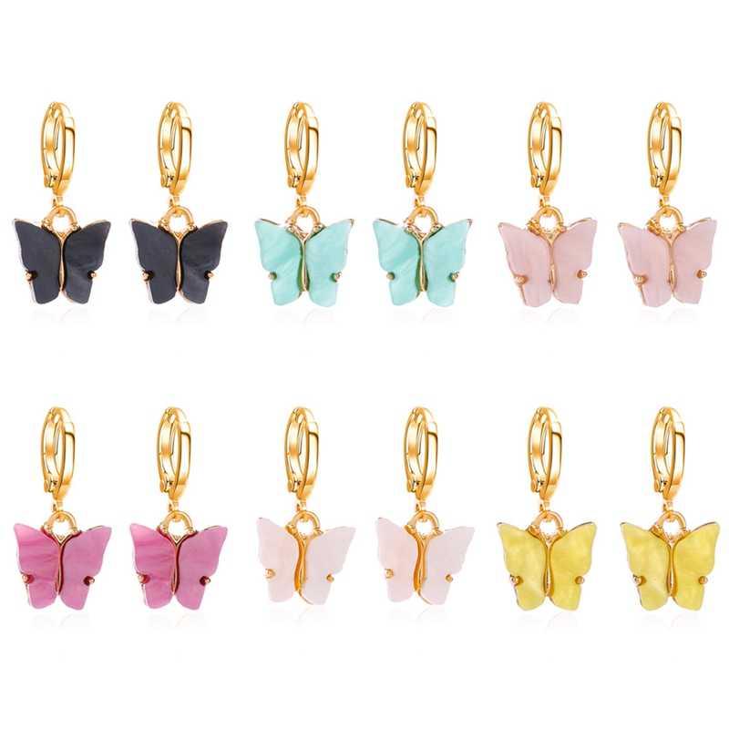 Koreański Trendy moda żywica motyl spadek kolczyki dla kobiet śliczne owady kolczyki dziewczyny dzieci modna biżuteria na prezent