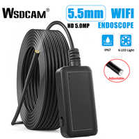 Wsdcam F220 WIFI Endoscope Camera IP67 Waterproof Hard Cable Inspection Cameras 5.5mm 6 LED Endoscope Borescope for IOS Android