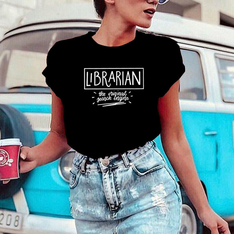 Librarian The Original Search Engine T Shirt Women Top Short Sleeve Tshirt Women Fashion Tee Shirt Femme Casual Camiseta Mujer image