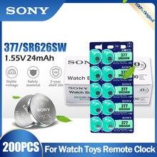200 adet SONY 377 377A SR626SW AG4 SR626 LR66 LR626 AG 4 1.55V gümüş oksit pil izle saat oyuncak araba uzaktan kumanda cep