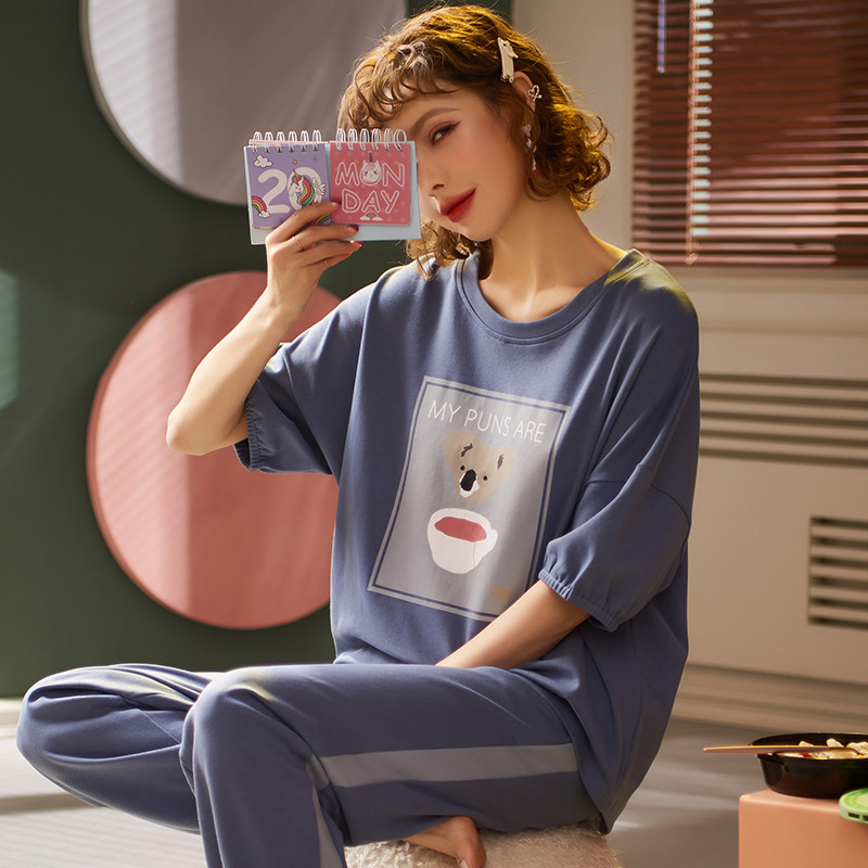 Can Wear Pajamas Cute Cartoon Women's Large Size M-2XL Pajamas Two-piece Suit Spring Pajamas Short Sleeve Trousers Round Neck