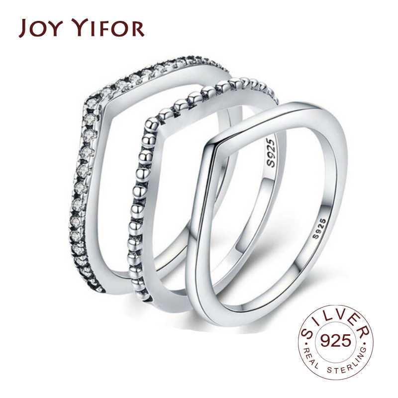 100% 925 Sterling Silver Star Bloem Waterdruppel Clear Cz Vinger Ringen Voor Vrouwen Wedding Engagement Sieraden Vriendin Gift