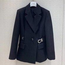 Женская элегантная офисная куртка с длинным рукавом, пальто, модная однотонная куртка и пальто для женщин
